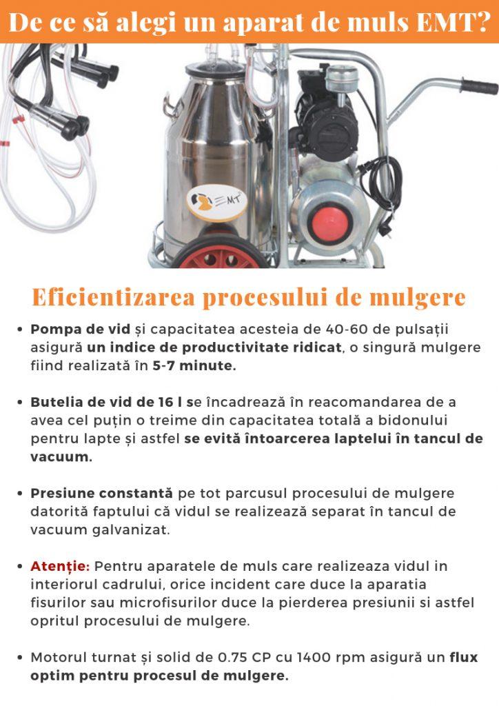 aparat de muls emt - mulgatoare eficientizarea procesului de mulgere