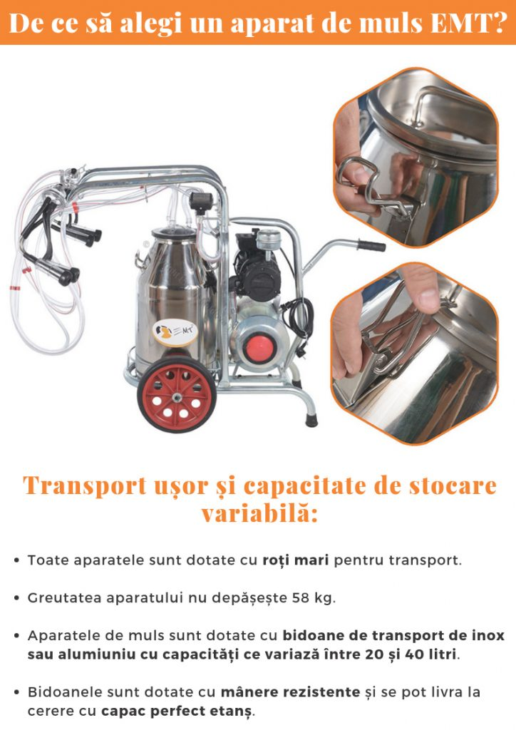 aparat de muls emt - mulgatoare - transport usor si capacitate de stocare